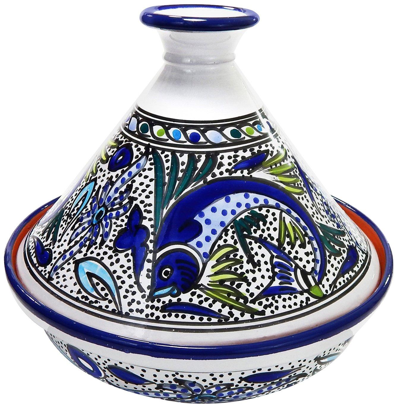 Le Souk Ceramique AF20CT Cookable Tagine 12 Inch, Aqua Fish, Large AFCT20