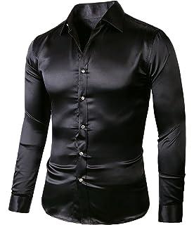 564a5b105b5 PAUL JONES Men s Slim Fit Silk Like Satin Luxury Dress Shirt at ...