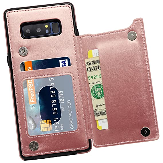 buy online bbc78 e2115 Galaxy Note 8 Wallet Case, MMHUO Premium PU Leather Galaxy Note 8 Case with  Credit Card Holder Double Magnetic Buttons Flip Shockproof Protective ...