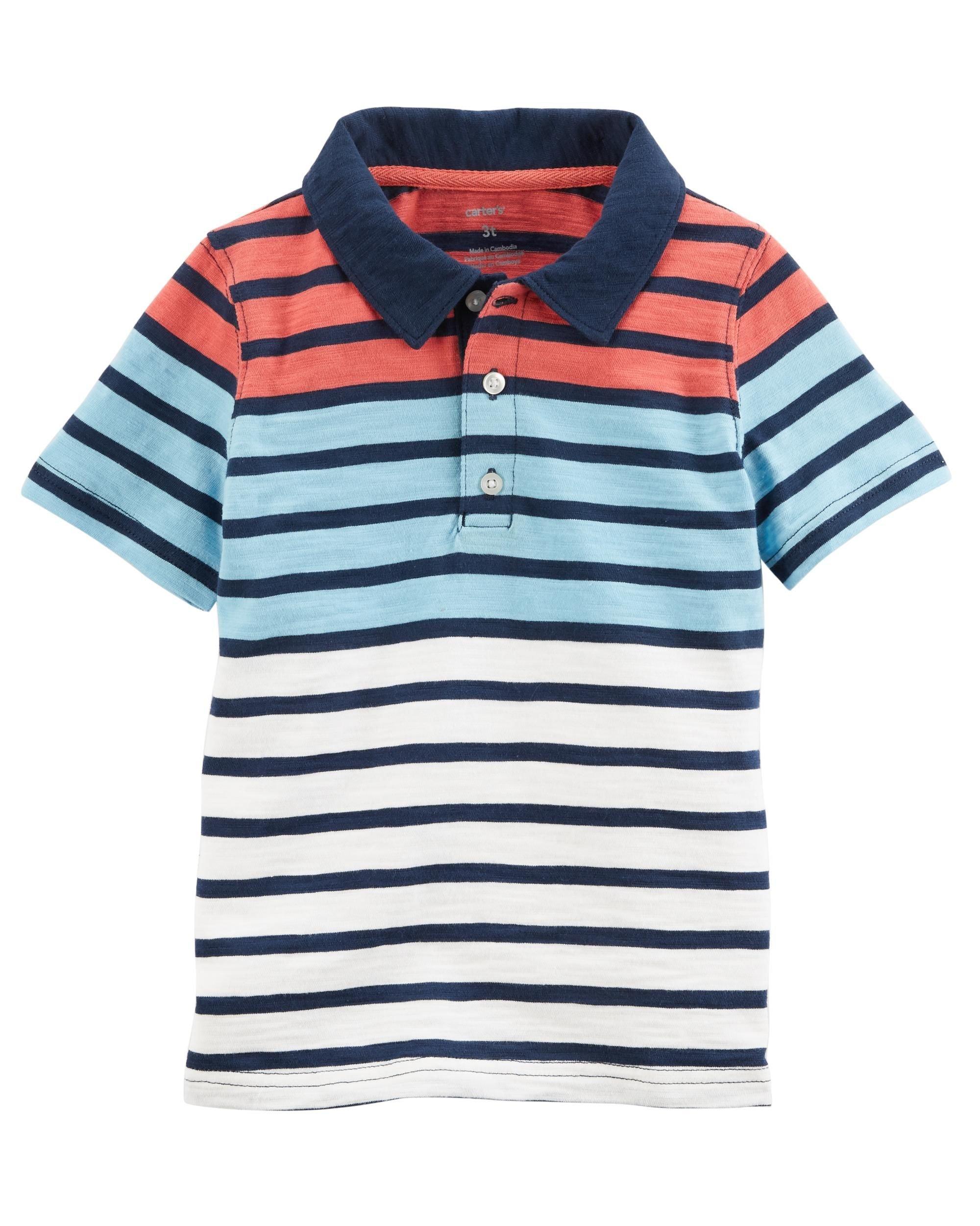 Carter's Boys' 2T-8 Short Sleeve Print Jersey Polo (Blue Color Block, 3T)