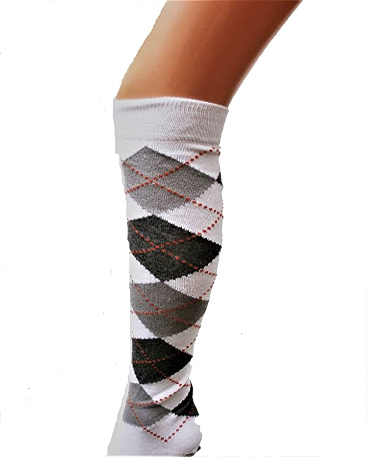 Ladies//Women Argyle Over the Knee socks in Blue,Grey and Yellow shoe size4-7