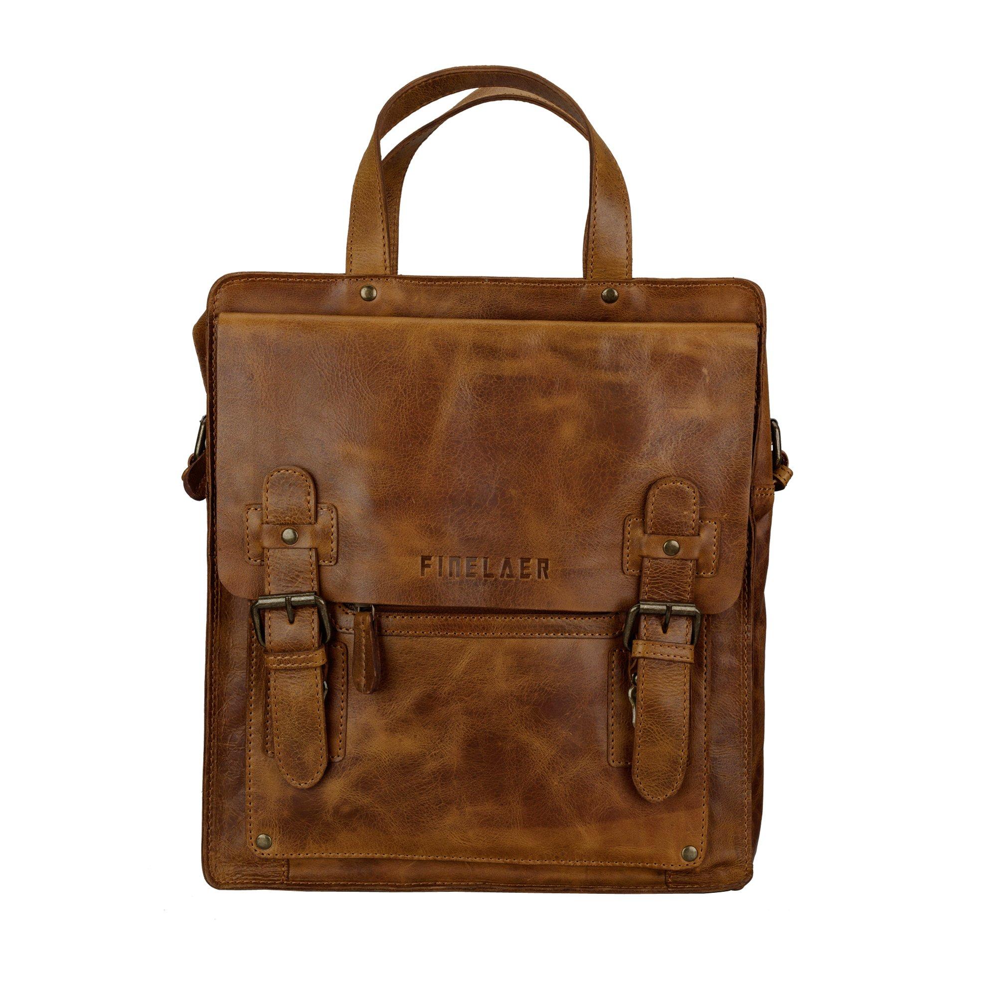 Finelaer Leather Crossbody Bag Purse Tote Shoulder Messenger Bag Bgs for Men Women Brown