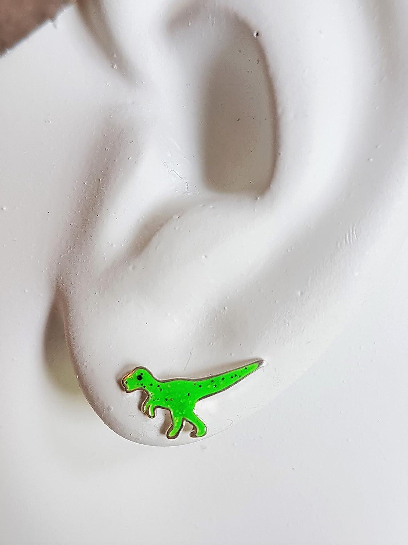 Sterling Silber T-Rex Dinosaurier Ohrringe/ /Gr/ün Glitter