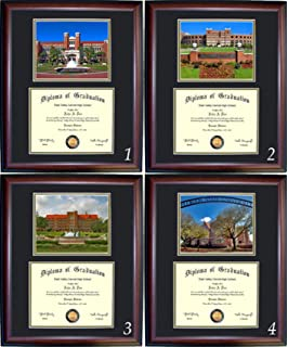 florida state diploma frame with photo and wood frame cherry walnut