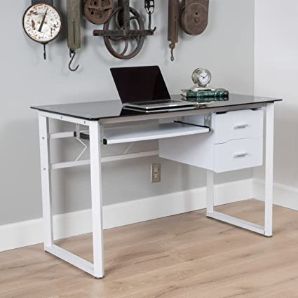 the latest 9923b d0a1e Christopher Knight Home 300823 Reeve Black Tempered Glass Computer Desk  White