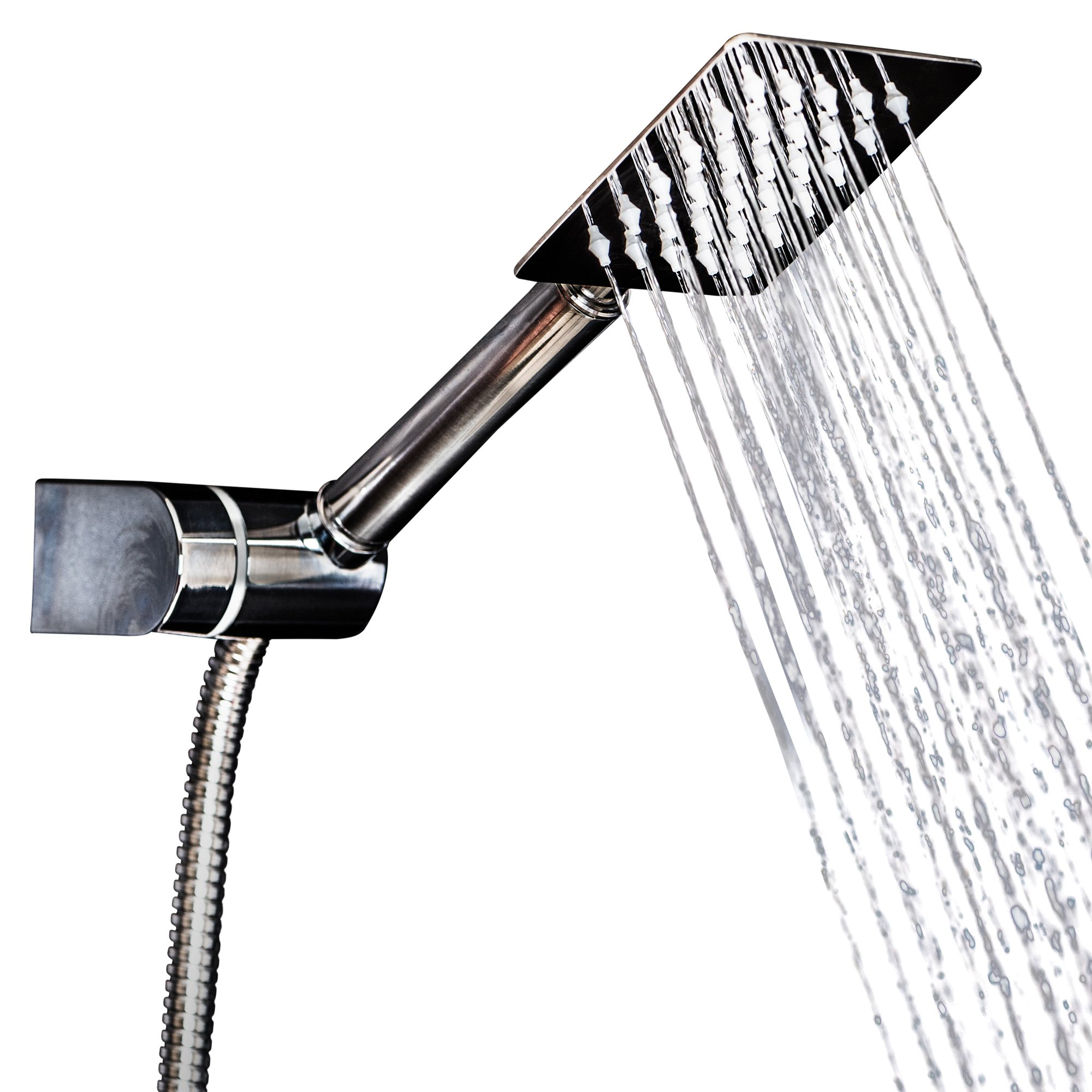 Handheld Shower Head Set - Square Rain Head + 5 ft Shower Hose | Stainless Steel 304| High Pressure |with Shower Mount Bonus for a Luxury Shower Experience by Happy-li