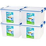 IRIS USA, Inc. Ziploc WeatherShield 44 Quart Storage Box, 4 Pack, Clear