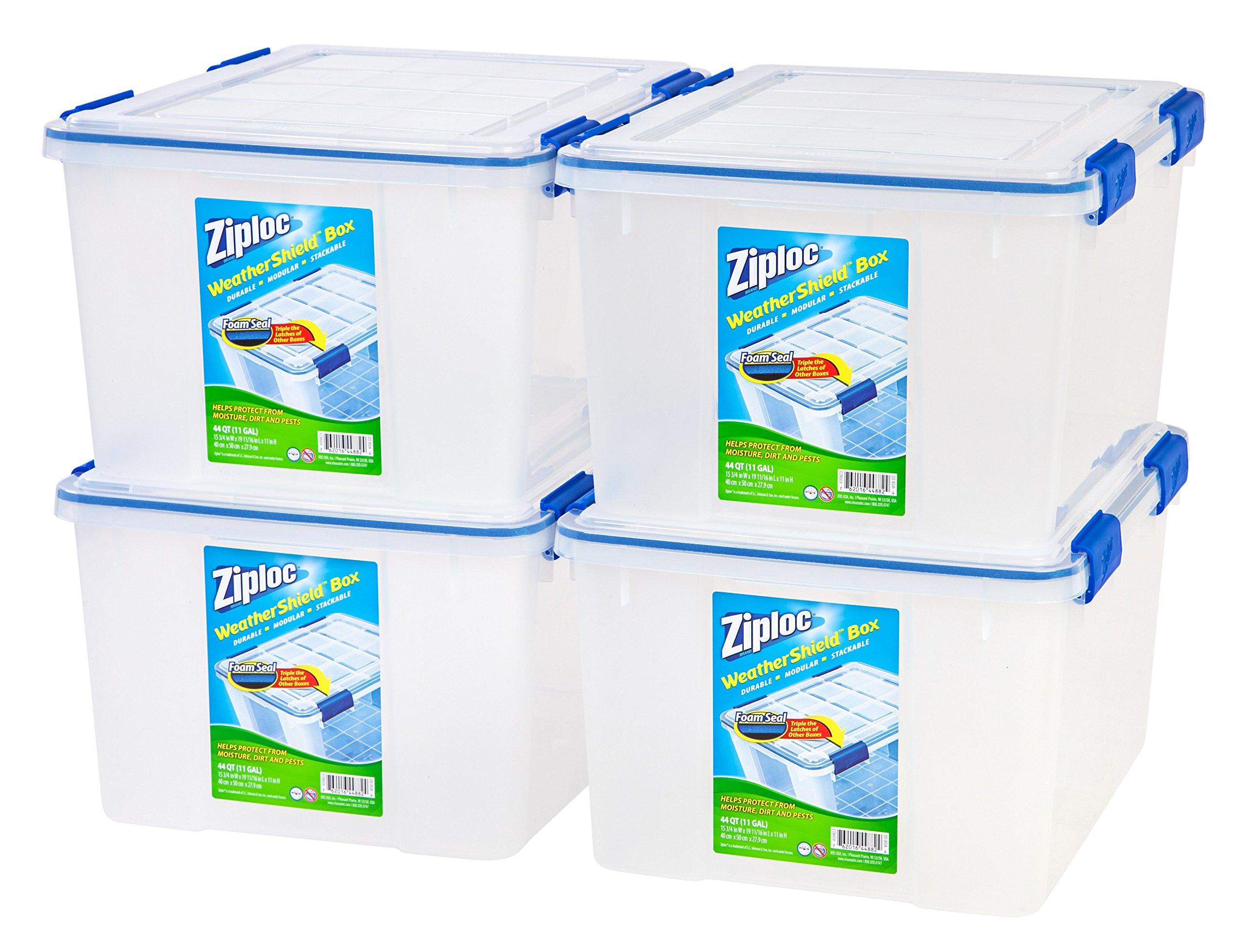 Ziploc WeatherShield 44 Quart Storage Box, 4 Pack, Clear by IRIS USA, Inc.