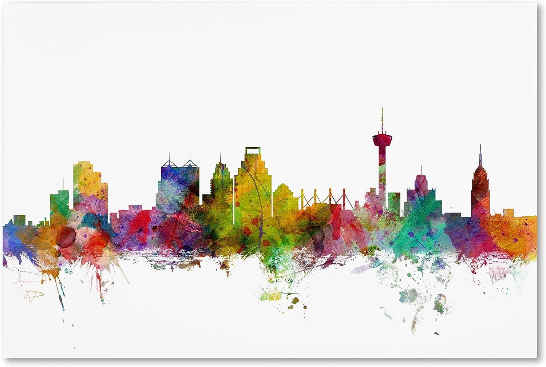 San Antonio Texas Skyline by Michael Tompsett, 16x24-Inch Canvas Wall Art