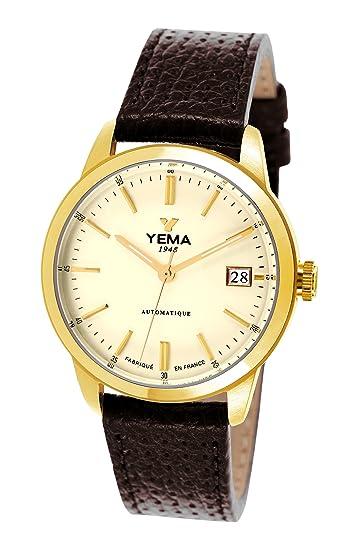 Yema YEAU 011 - 1BU - Reloj Hombre - automático analógico - Reloj dorado - Pulsera Piel Marrón: Amazon.es: Relojes