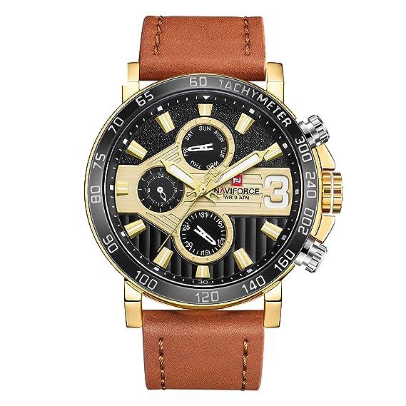 Naviforce - Reloj de Pulsera analógico de Cuarzo con Correa de Cuero auténtico, para Hombre