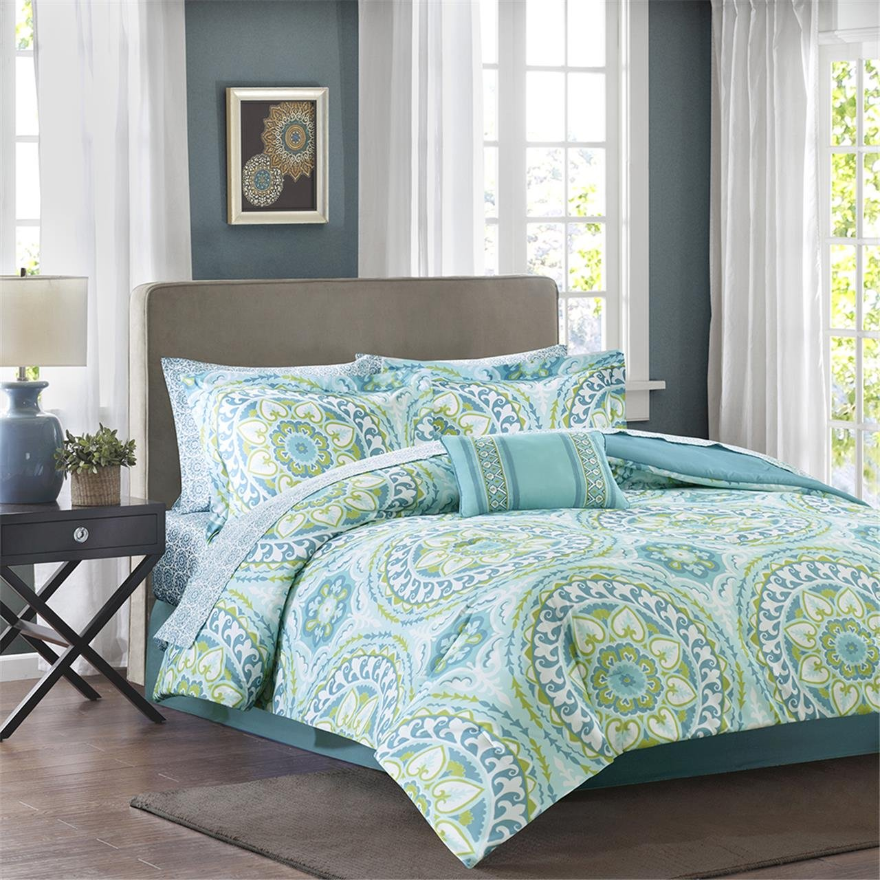 Madison Park Complete Bed & Sheet Set Cal King Aqua,Cal King