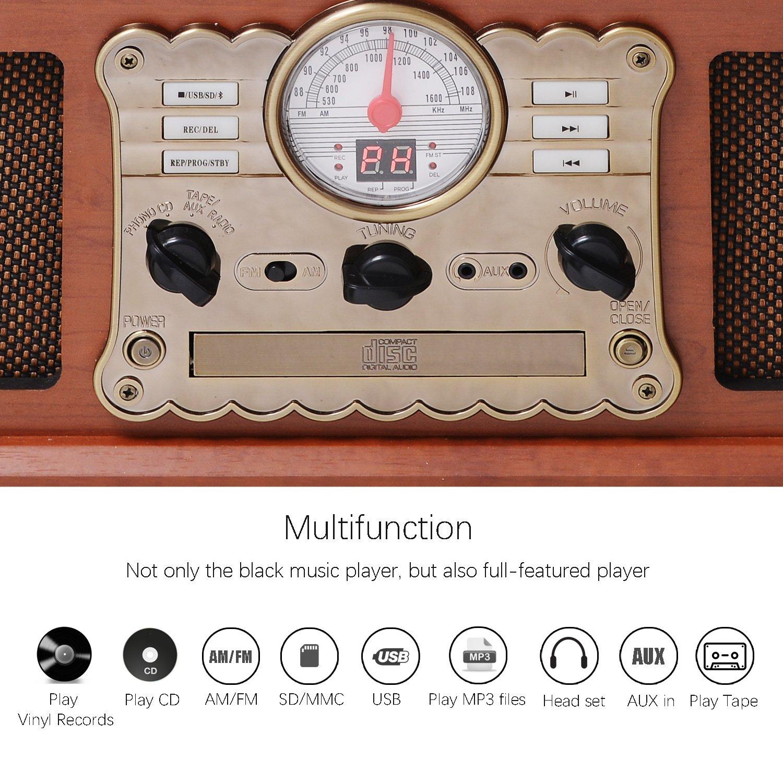 MUSITREND Equipo EstéReo Retro Con Tocadiscos Bluetooth de Madera - Función Encoding, CD, Cassete, Radio, USB, mp3, 3 velocidades, con Altavoces
