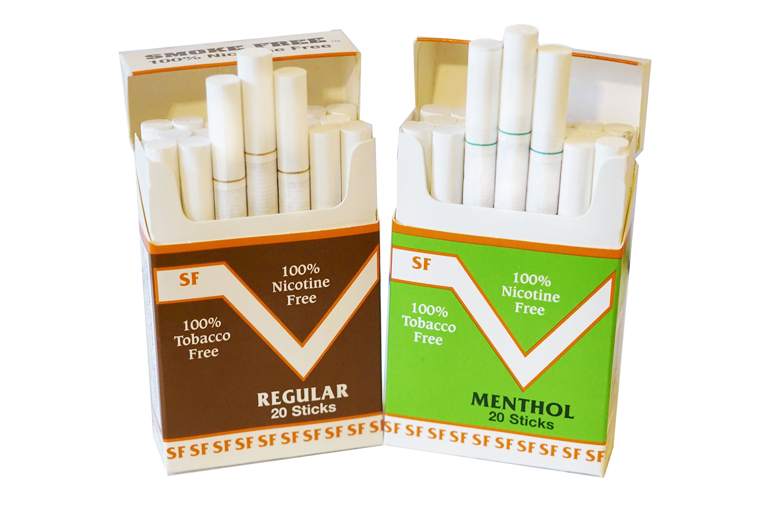 Two Pack Regular & Menthol Flavor Made in USA Since 1998 Smoke Free(Cocoa Bean Cigarettes) by SMOKE FREE