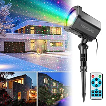 Christmas Projector Lights.Christmas Lights Projector Fengniao Outdoor Moving Star Projector Green Red Xmas Landscape Lighting Shower With Remote Control For Holiday Garden