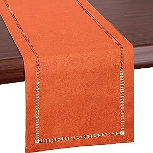 Grelucgo Small Short Thanksgiving Holidays Fall Autumn Orange Table Runner Or Dresser Scarf (14 x 48 Inch)