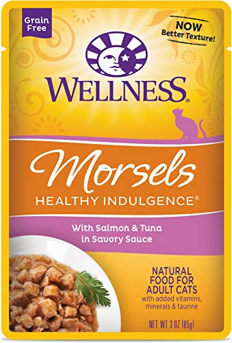 Wellness Healthy Indulgence Natural Grain Free Wet Cat Food Pouches Morsels Salmon Tuna