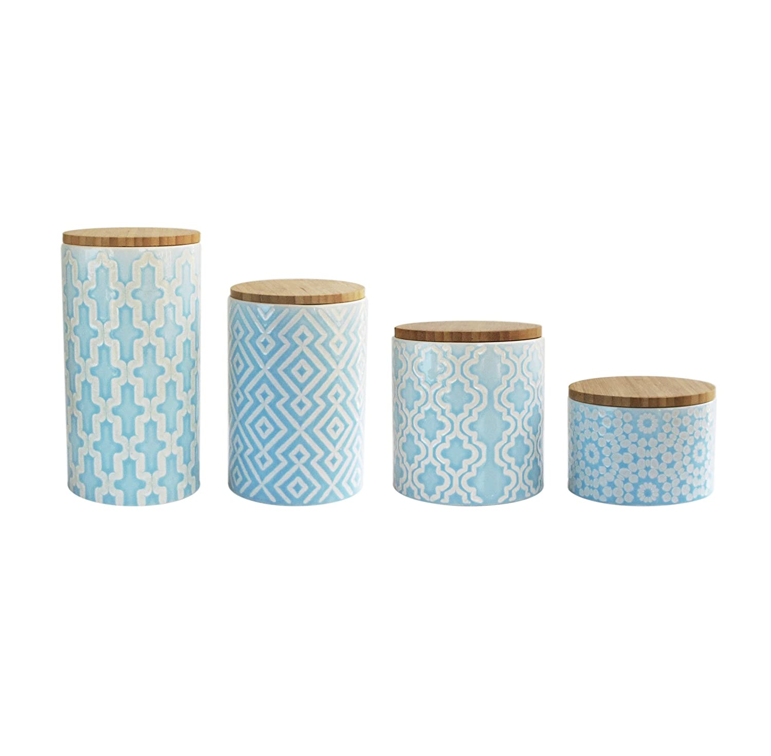 Amazon.com: American Atelier 6294-CAN Arabesque Canister Set, Blue ...