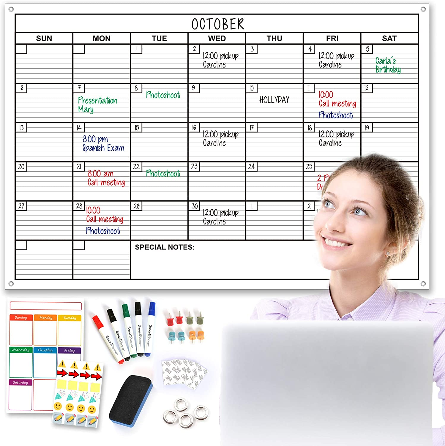 Smart Planner Extra Large Monthly Dry Erase Wall Calendar Set, 24 by 36 inches, Bonus: Super Useful Weekly Calendar, 5 Markers, 1 Eraser, 8 Tacks, 4 Double Sided Tape, 24 Stickers, 4 Metal Holes