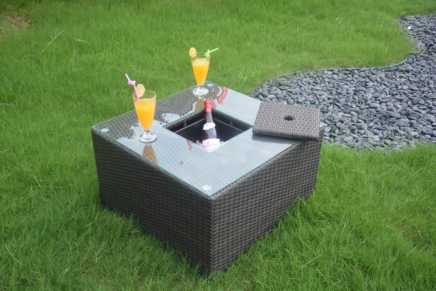 Direct Wicker Outdoor Square Cooler Table Patio Wicker Bar Table with Ice Bucket-Black Wicker