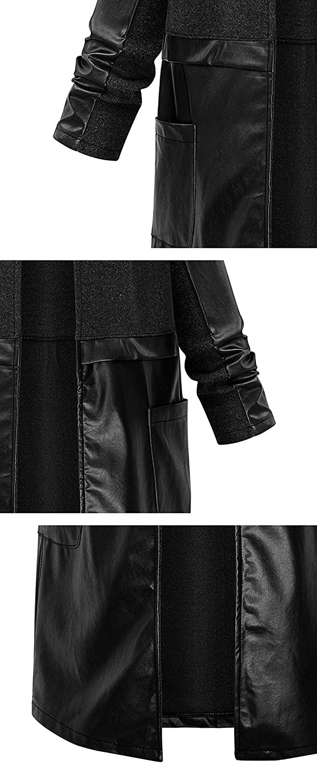 Face Dream Women Fashion Spliced PU Leather Woolen Long Coat Black Plus Size Overcoat