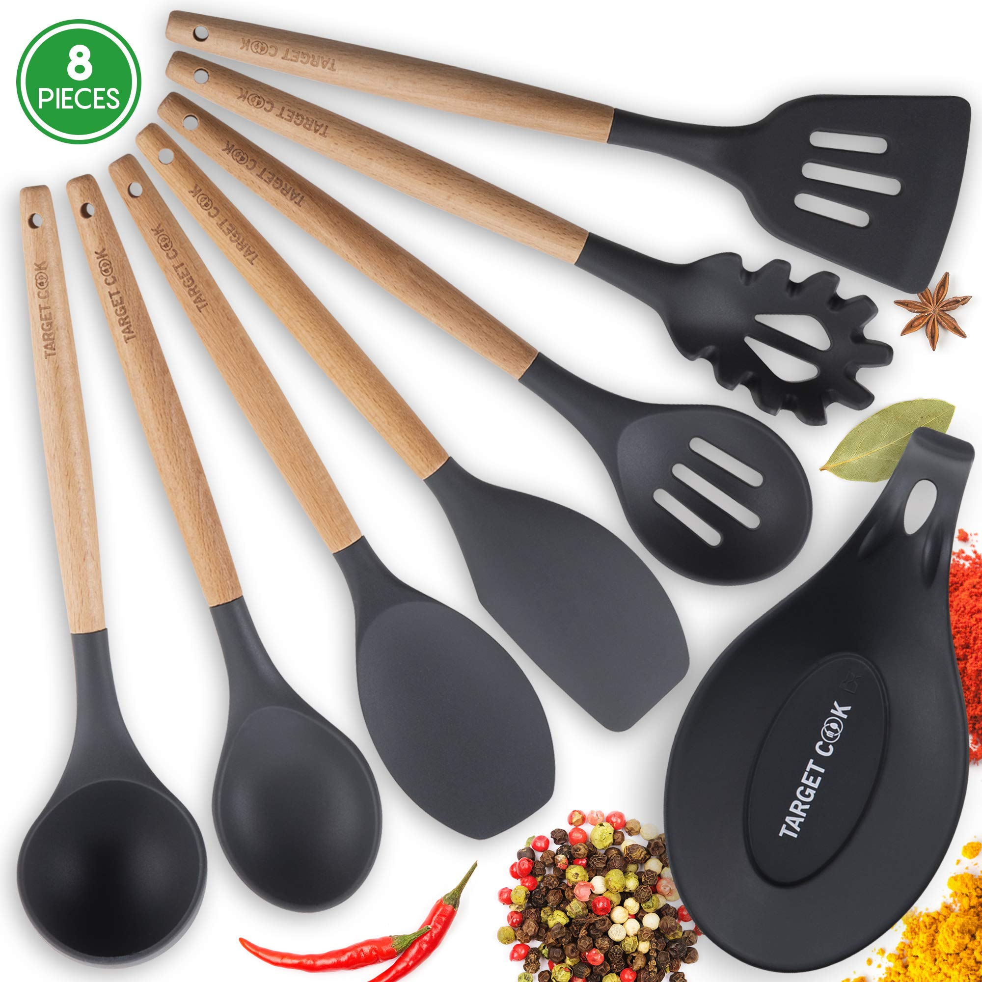 Kitchen Utensil Set - Silicone Cooking Utensils - Kitchen Accessories - Housewarming Gifts - Cooking Tools - Wooden Handle Cooking Spoons