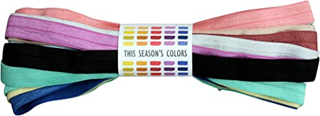 This Seasons Colors Black Fold Over Elastic; 10 or 20 Yards of 5//8 Grade A FOE Trim