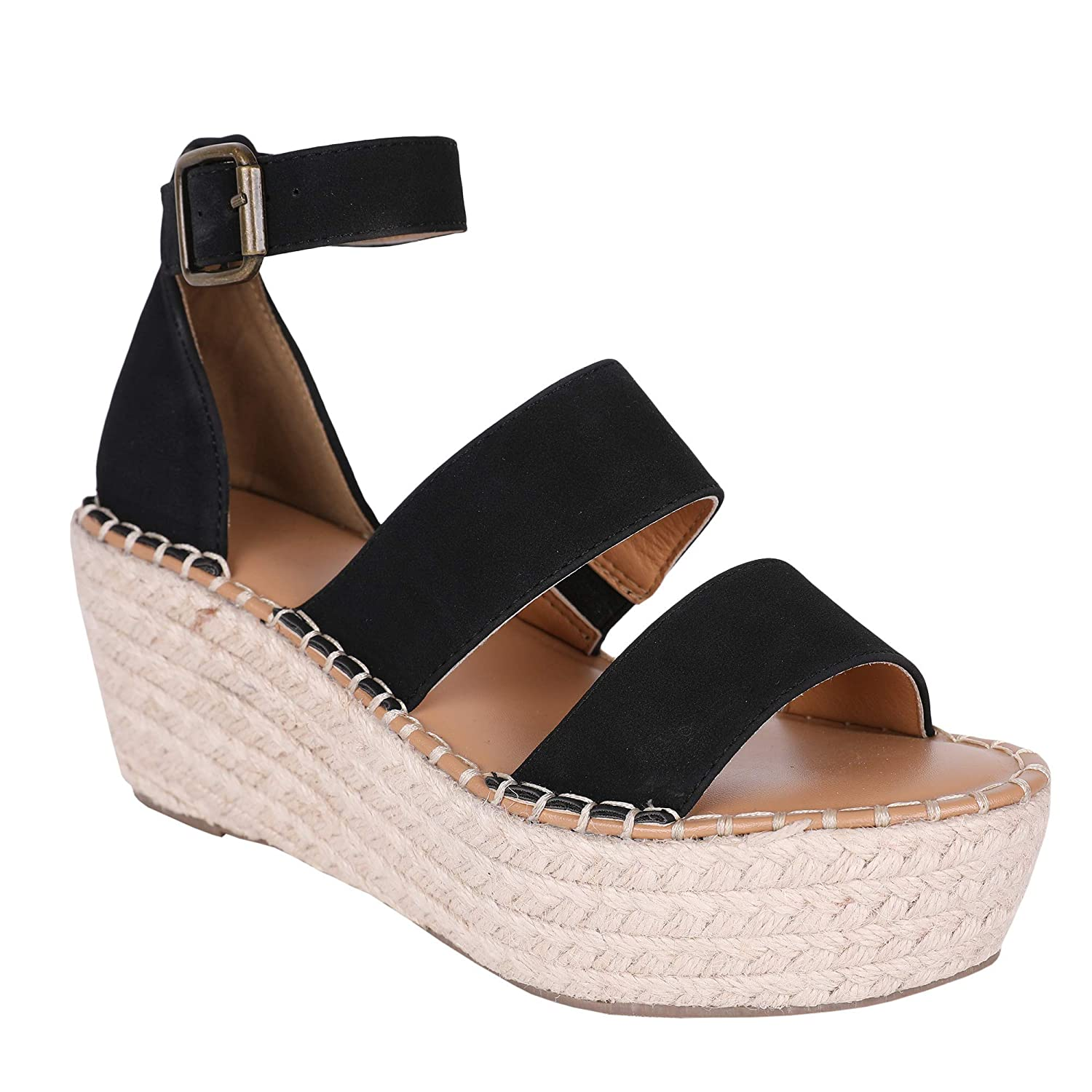 2354b386dcf FISACE Womens Espadrille Strappy Platform Wedge Sandals Open Toe Ankle  Buckle Summer Dress Shoes