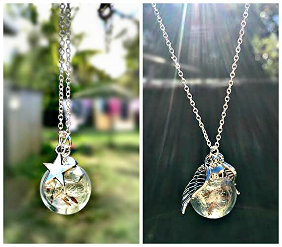 Twin set silver angel wing and star dandelion sterling silver twin set silver angel wing and star dandelion sterling silver necklace pendants for women gift set aloadofball Choice Image