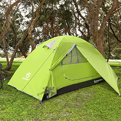 lightweight aluminium poles with quick assembly function tent Trek It Easy 2 green lightweight small pack size Outdoor trekking tent for 1-2 people