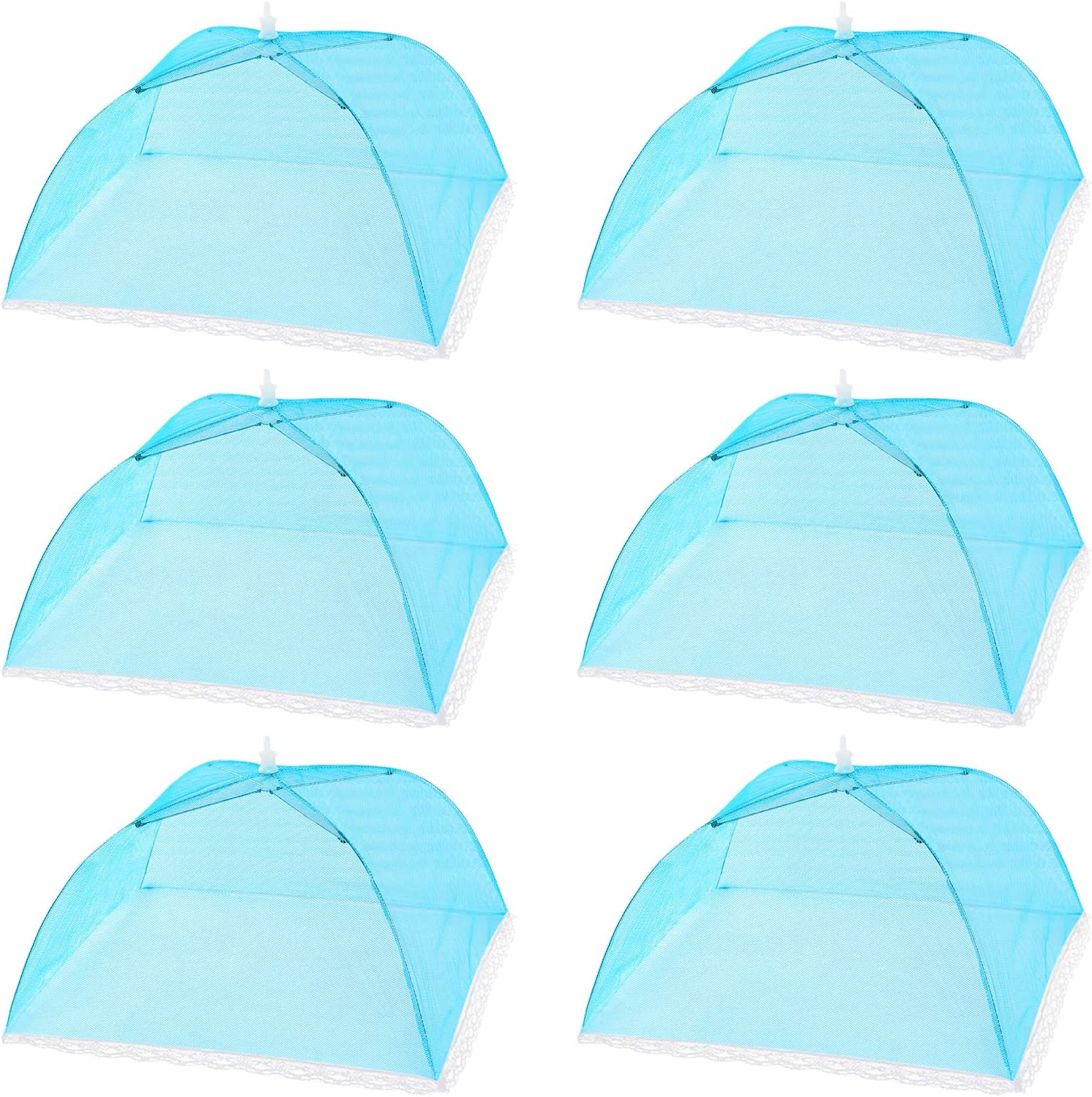 HabiLife 6 pack Large Pop-Up Mesh Food Cover Tent,17 Inches Food Protector Covers Reusable and Collapsible Outdoor Picnic Food Covers Tent For Bugs, Parties Picnics, BBQ (Blue)