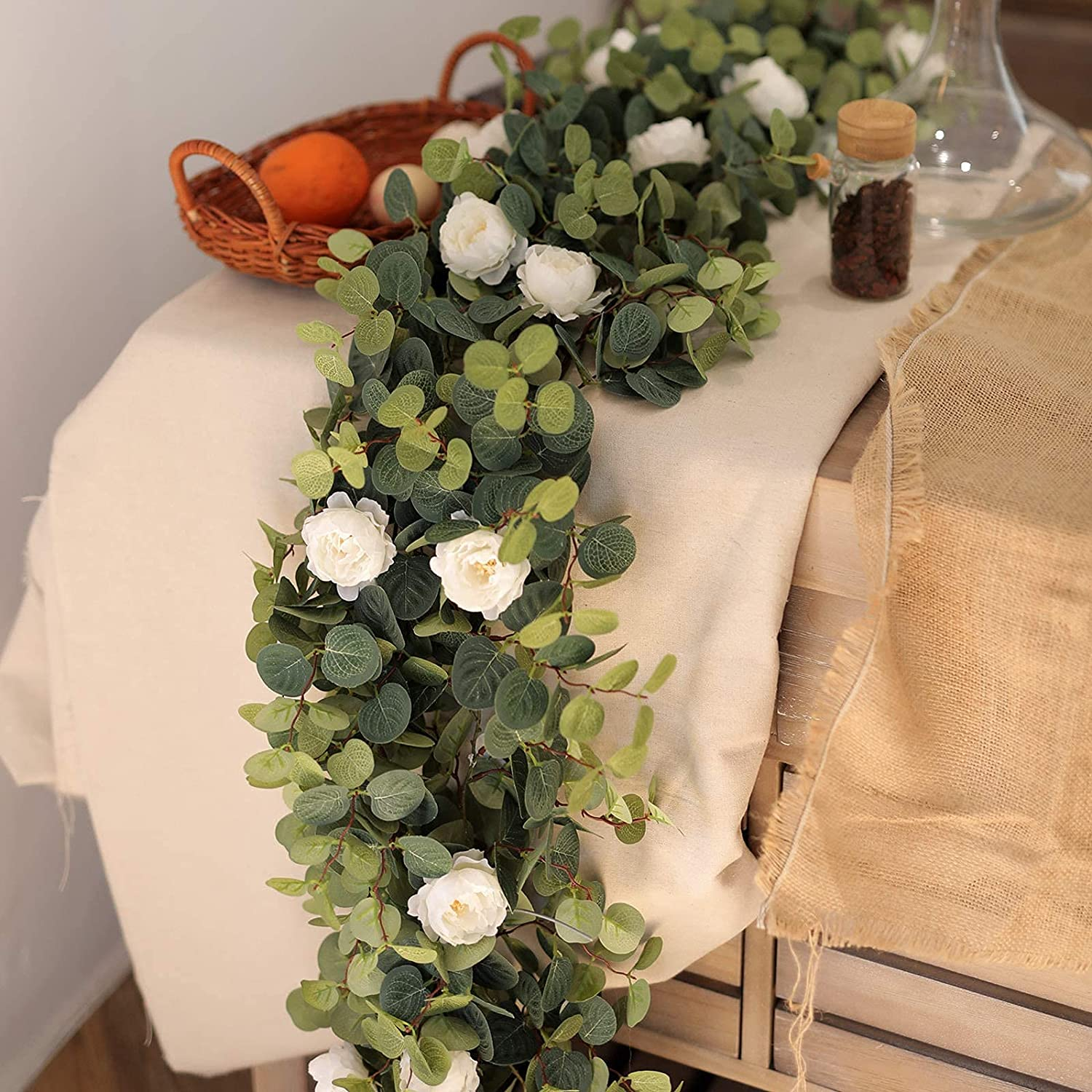 MISSPIN Artificial Flowers Garland Eucalyptus Garland Vintage Fake Flower Peony Vine Greenery Decorative Wall Hanging Plant for Wedding Arch Door Arrangement Party Table Decor (White, 1)