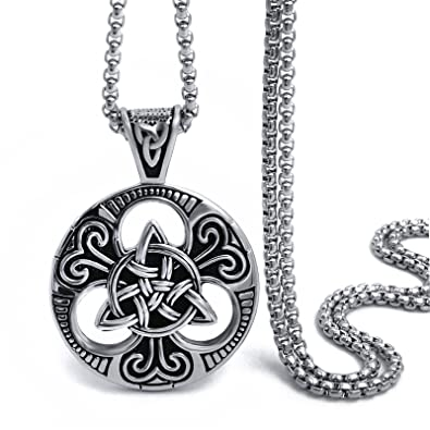 Elfasio large celtic knot magic both sided pendant necklace mens elfasio large celtic knot magic both sided pendant necklace mens stainless steel chain jewelry aloadofball Images