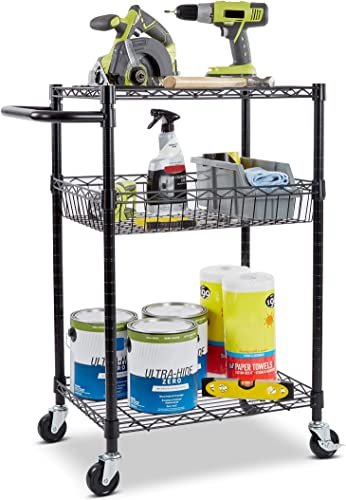 Seville Classics 3-Tier UltraDurable Commerical-Grade Heavy-Duty NSF-Certified Service Utility Storage Cart