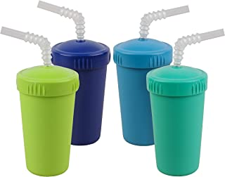 product image for Re-Play Made in USA 4pk Straw Cups with Bendable Straw in Sky Blue, Aqua, Navy and Lime Green | Made from Eco Friendly Heavyweight Recycled Milk Jugs - Virtually Indestructible (Under The Sea+)