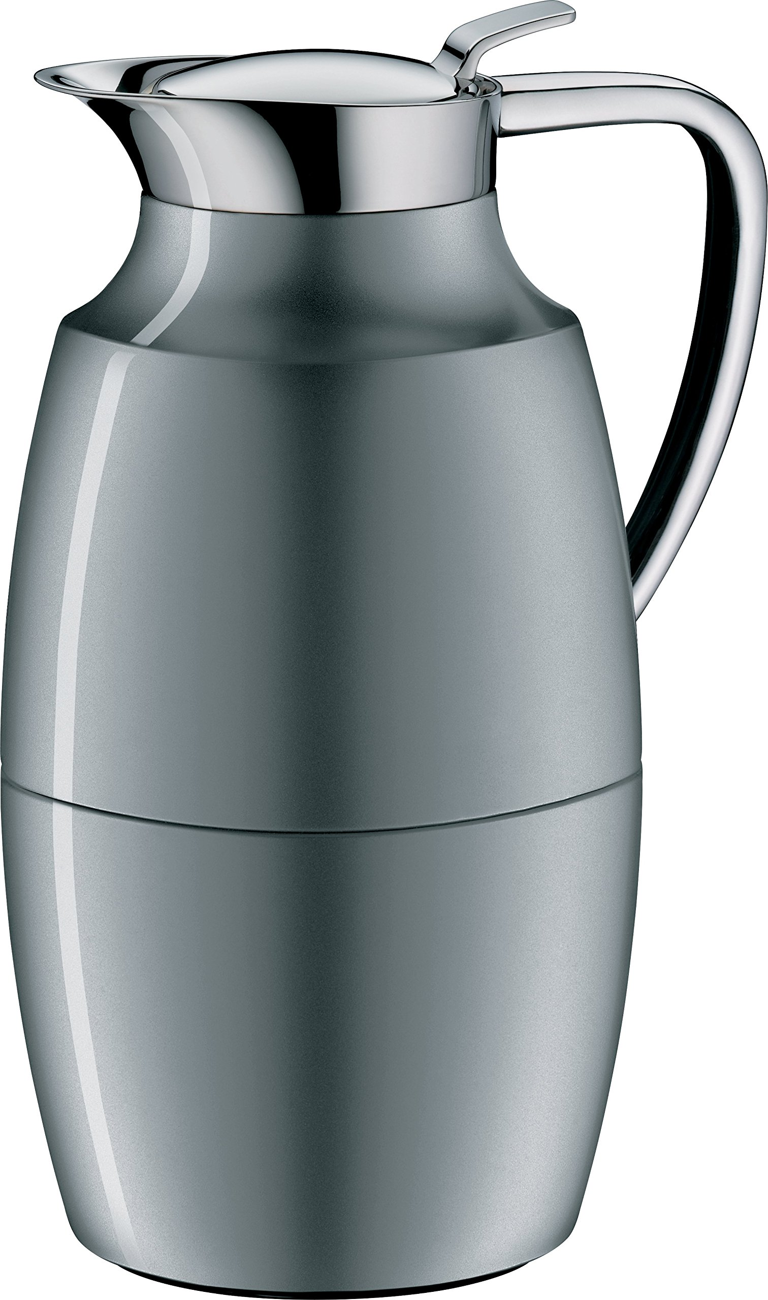 alfi Pallas Glass Vacuum Lacquered Metal Thermal Carafe for Hot and Cold Beverages, 1.0 L, Space Grey