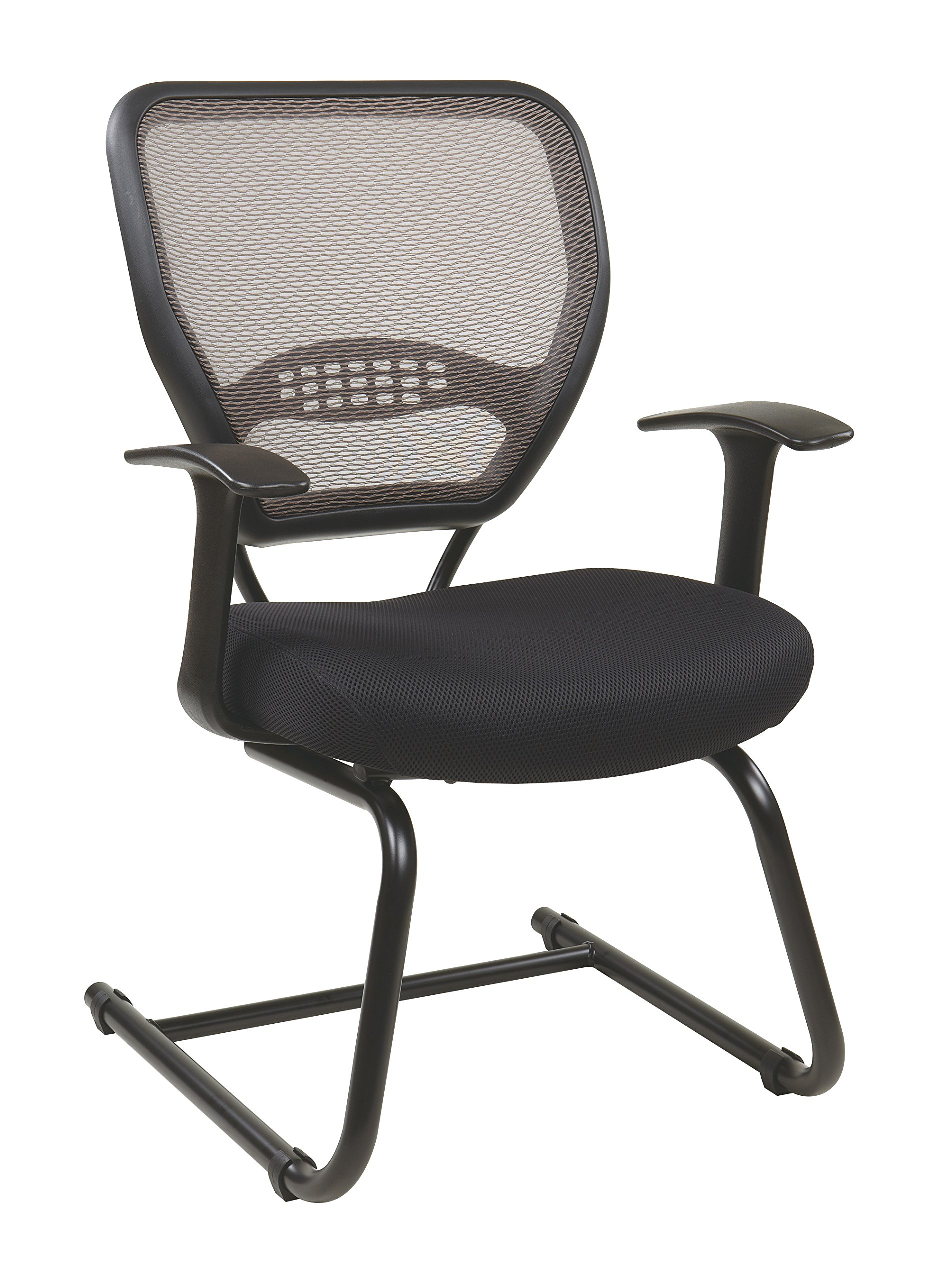 SPACE Seating AirGrid Latte Back with Padded Black Mesh Seat, Fixed Arms, Lumbar Support and Sled Base Visitors Chair by Space Seating