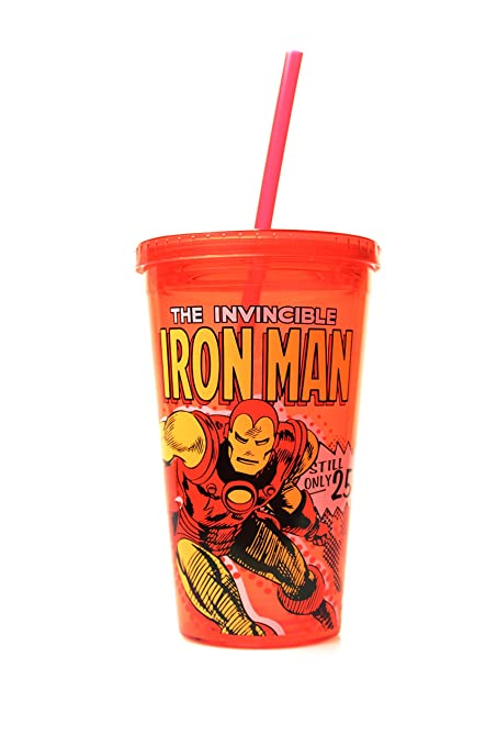 Silver Buffalo MC21087 Marvel Iron Man Action Plastic Cold Cup with Lid and Straw, 16