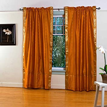 Mustard Yellow 84 Inch Rod Pocket Sheer Sari Curtain Panel (India)   Piece