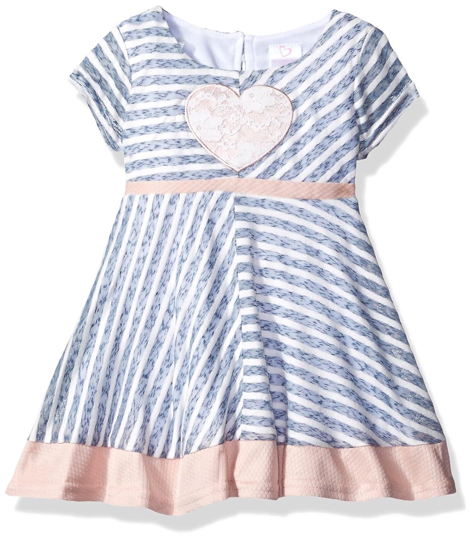 Youngland Baby Girls Paneled Knit Dress /& Heart Applique