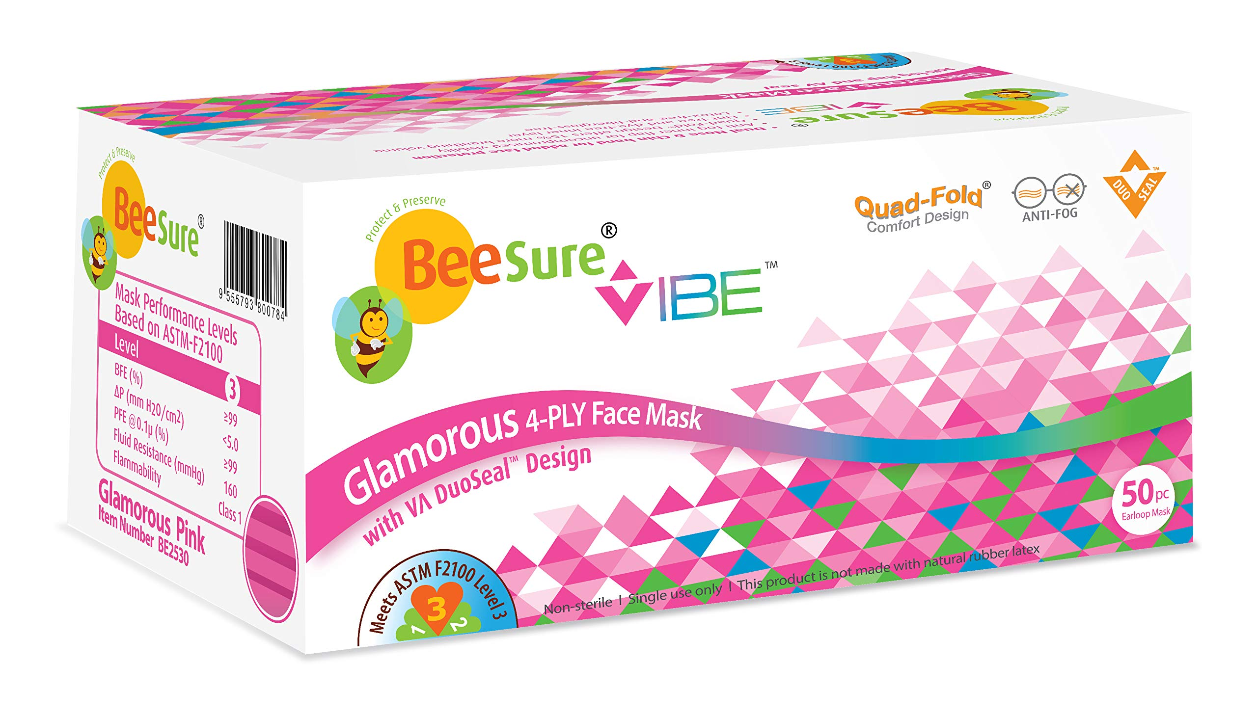BeeSure Vibe Face Masks, Glamorous Pink (Pack of 400)