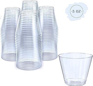 Small Clear Plastic Cups 5 Oz 100 Pack Hard Disposable Cups Plastic Wine Cups Plastic Cocktail Glasses Plastic Drinking Cups Plastic Party Punch Cups Bulk Wedding Plastic Tumblers Kitchen Dining
