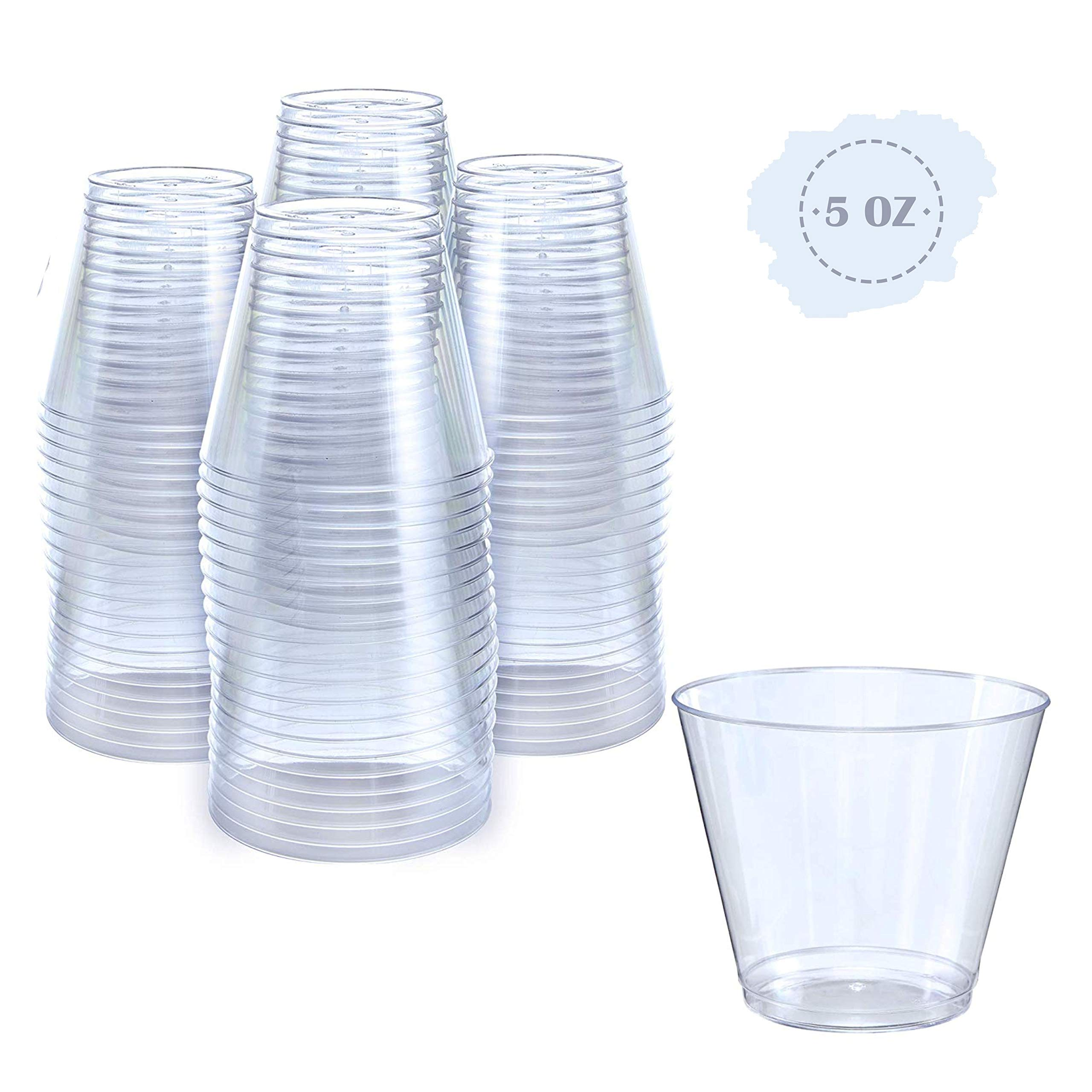 Small Clear Plastic Cups   5 oz. 100 Pack   Hard Disposable Cups   Plastic Wine Cups   Plastic Cocktail Glasses   Plastic Drinking Cups   Plastic Party Punch Cups   Bulk Wedding Plastic Tumblers