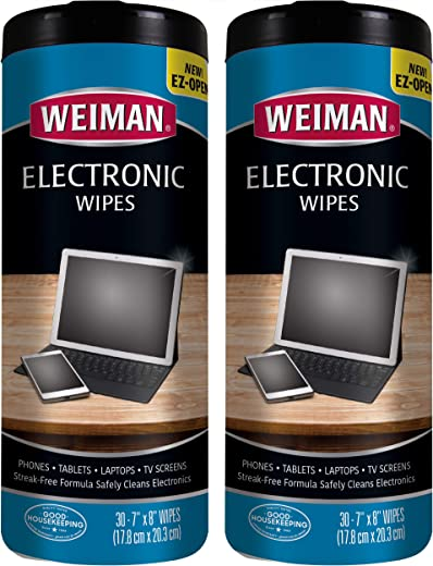 Weiman Electronic Wipes – Non Toxic Safely Clean Your Laptop, Computer, TV, Phone, and Tablet Screens – All Electronic Equipment – Electronic…