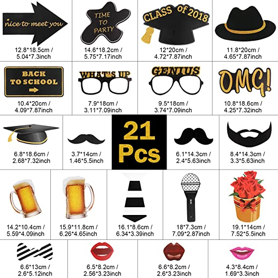 Yodeace 21 Pcs DIY Props Photo Booth Atrezzo Photocall Decoracion  Incluyendo Bigotes Gafas Sombreros Labios Flores Micrófono para Fiesta de  Regreso a la ... 9d306ffc845