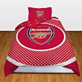 Arsenal FC Official Bullseye Reversible Duvet Cover Bedding Set (Single And Double) (Double) (Red)
