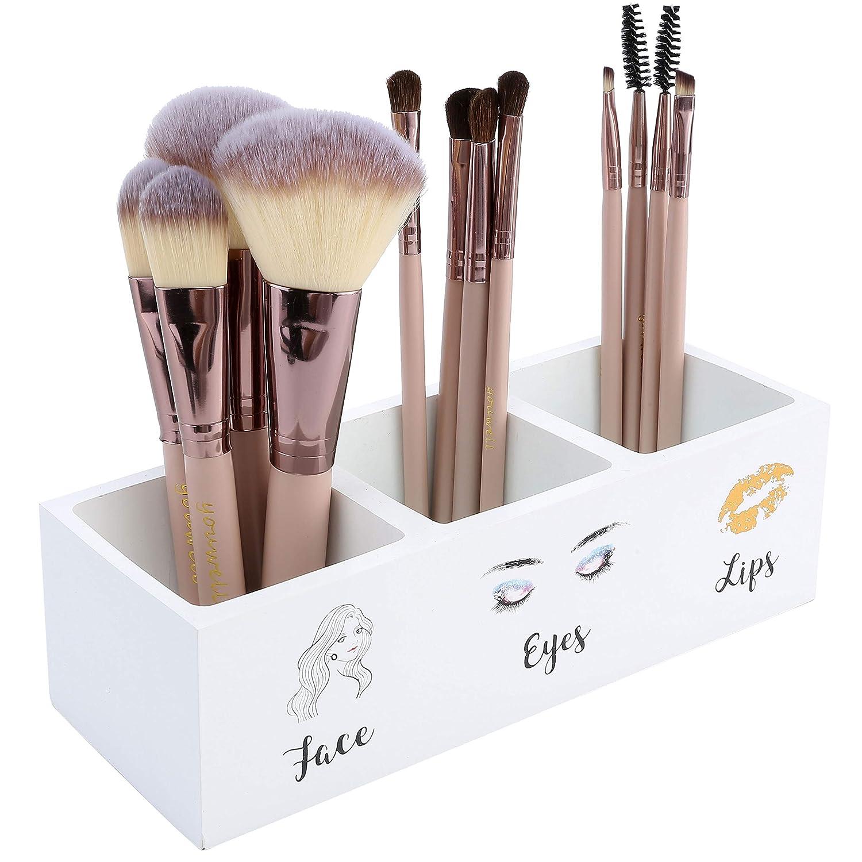 Makeup Brush Holder, 3 Slot Cosmetics Brushes Storage Organizer,Birthday Gifts for Women