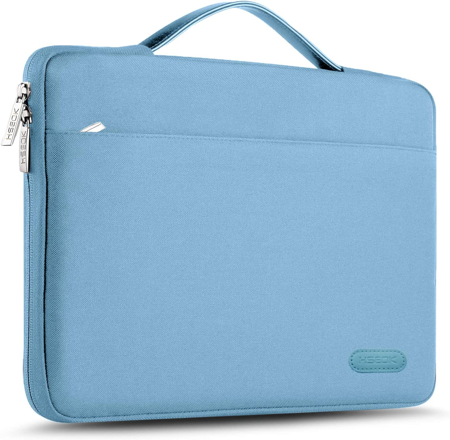 """Hseok Laptop Sleeve 13-13.5 Inch Case Briefcase, Compatible All Model of 13.3 Inch MacBook Air/Pro, XPS 13, Surface Book 13.5"""" Spill-Resistant Handbag for Most Popular 13""""-13.5"""" Notebooks, Light Blue"""