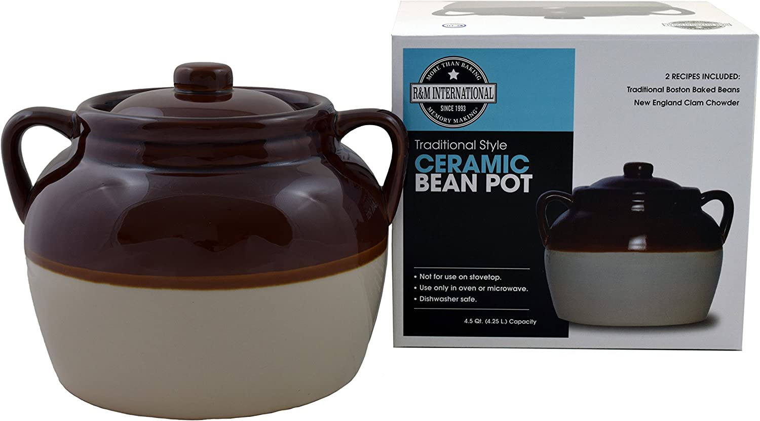 R&M International 7621 Traditional Style 4.5-Quart Large Ceramic Bean Pot