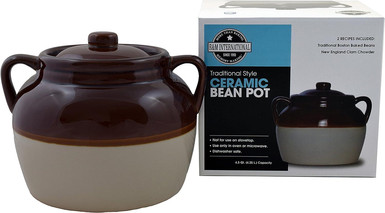 R&M International 7621 Traditional Style 4.5-Quart Large Ceramic Bean Pot